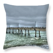 Pacifica Fishing Pier 7 V2 Throw Pillow