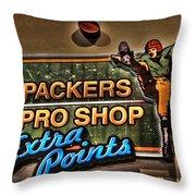 Packer Pro Shop Throw Pillow