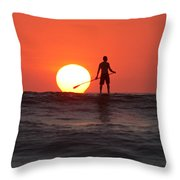 Paddle Board Sunset Throw Pillow