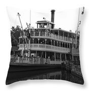 Paddle Boat Black And White Walt Disney World Throw Pillow