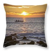 Paddlers At Sunset Portrait Throw Pillow