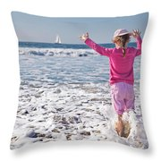 Paddling In The Ocean Throw Pillow
