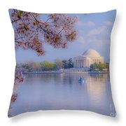 Paddling Past The Blossoms On The Basin Throw Pillow