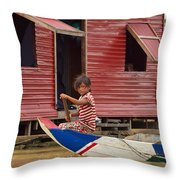 Paddling Through The Village Throw Pillow
