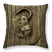 Padlock Black And White Throw Pillow