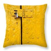 Padlock On An Old Yellow Door Throw Pillow