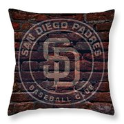 Padres Baseball Graffiti On Brick  Throw Pillow by Movie Poster Prints
