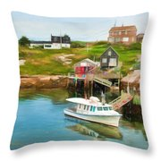 Peggy's Cove Boat Tours Throw Pillow