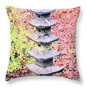 Pagoda In Autumn Throw Pillow