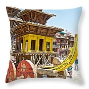 Pagoda-style Carriage In Bhaktapur Durbar Square In Bhaktapur-nepal Throw Pillow