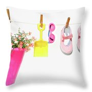 Pail And Shoes On White Throw Pillow by Sandra Cunningham