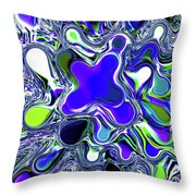 Paint Ball Color Explosion Blue Throw Pillow