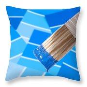 Paint Brush - Blue Throw Pillow
