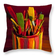 Paint Can And Paint Brushes Still Life Throw Pillow