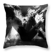 Paint Over Nude Silhouette Throw Pillow