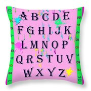 Paint Spattered Primary Learning Throw Pillow