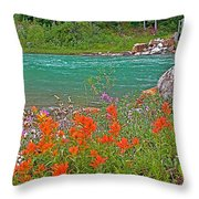 Paintbrush By Bow River In Banff Np-ab Throw Pillow