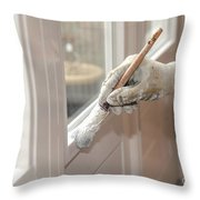 Paintbrush With White Paint In Hand Throw Pillow