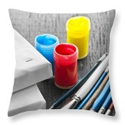 Paintbrushes With Canvas Throw Pillow