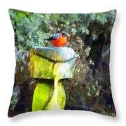 Painted Bullfinch S2 Throw Pillow