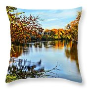 Painted Autumn River Throw Pillow