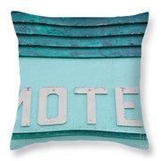 Painted Blue-green Historic Motel Facade Siding Throw Pillow