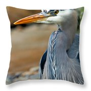 Painted Blue Heron Throw Pillow