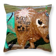 Painted Buffalo Throw Pillow