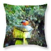 Painted Bullfinch S1 Throw Pillow