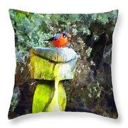 Painted Bullfinch Trio Throw Pillow
