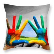 Painted Colorful Hands Showing Way To Colorful Happy Life Throw Pillow