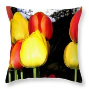 Painted Country Tulips Throw Pillow