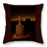 Painted Cross In Graveyard Throw Pillow