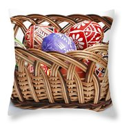 painted Easter Eggs in wicker basket Throw Pillow