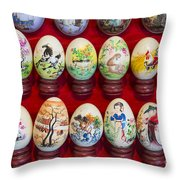 Painted Eggs In China Market Throw Pillow