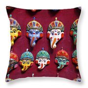Painted Elephant Souvenirs In Kathmandu Throw Pillow
