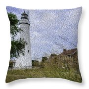Painted Fort Gratiot Light House Throw Pillow