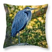 Painted Great Blue Heron Throw Pillow