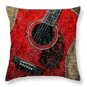 Painted Guitar - Music - Red Throw Pillow