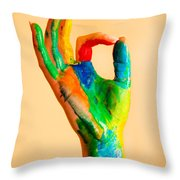 Painted Hand With Ok Sign Throw Pillow