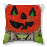Painted Hay Bale Throw Pillow