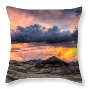 Painted Hills In Oregon Panorama At Sunset Throw Pillow