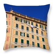 painted homes in Camogli Throw Pillow