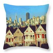 Alamo Square San Francisco - Digital Art Throw Pillow