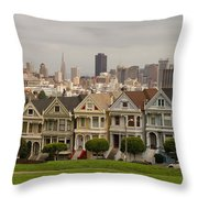Painted Ladies Row Houses And San Francisco Skyline Throw Pillow