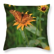 Painted Lady With Friends Throw Pillow