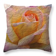 Painted Paper Rose Throw Pillow