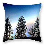 Painted Pine Tree Trio Throw Pillow