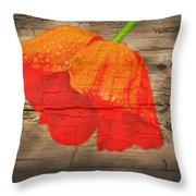 Painted Poppy On Wood Throw Pillow