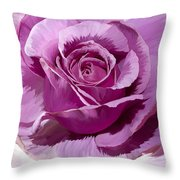 Painted Purple Rose  Throw Pillow